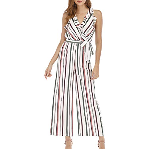 (Toimothcn Women's Striped Jumpsuits Rompers Sleeveless Casual Wide Leg Playsuit with Belt(Pink1,S))