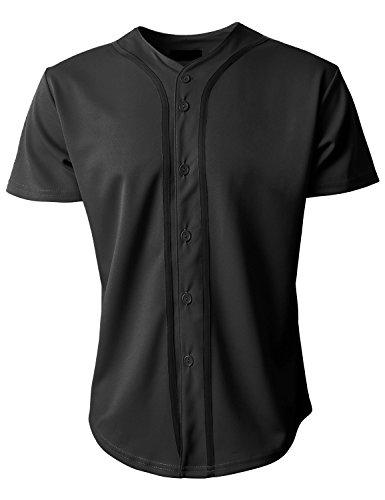 KS Mens Baseball Jersey Button Down T Shirts Plain Short Sleeve S-3XL 1KSA0002 (Medium, Black/Black) ()