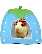 """FLAdorepet Rabbit Guinea Pig Hamster House Bed Cute Small Animal Pet Winter Warm Squirrel Hedgehog Chinchilla House Cage Nest Hamster Accessories (9"""" 9"""" 10"""", Lake Blue)"""