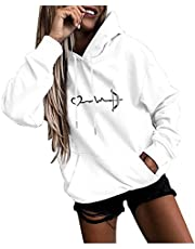 Womens Hoodie Sweatshirts Mode Letter Print Casual Lange Mouw Sweatshirt Losse O-hals Pullover Tops