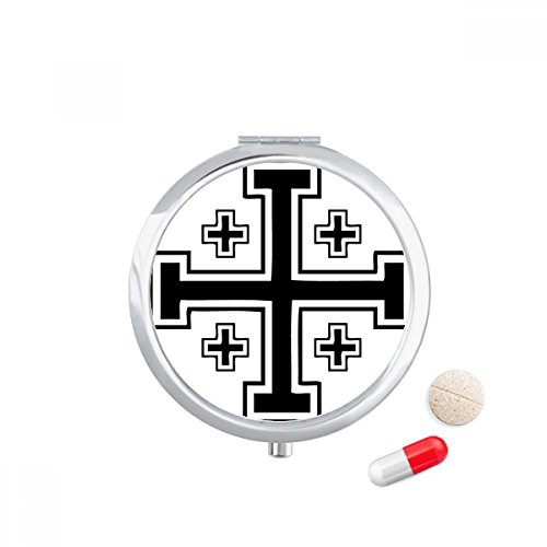 Religion Christianity Belief Church Crosses Travel Pocket Pill case Medicine Drug Storage Box Dispenser Mirror Gift by DIYthinker