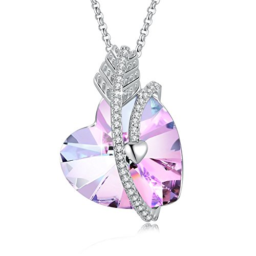 SUE'S SECRET Love Heart Shaped Pendant Necklace Made with Swarovski Crystal, Woman Purple/Ocean Blue Heart...