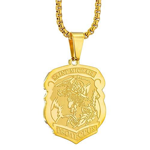 Apopo Gold Fashion Archangel Saint Michael Badge Shield Pendant Chain Stainless Steel Necklace for Men&Women