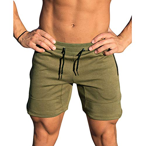 MECH-ENG Men's Workout Shorts Fitted Training Bodybuilding Short Joggers Zip Pockets(Army Green M/Tag - Running Shorts Army Us
