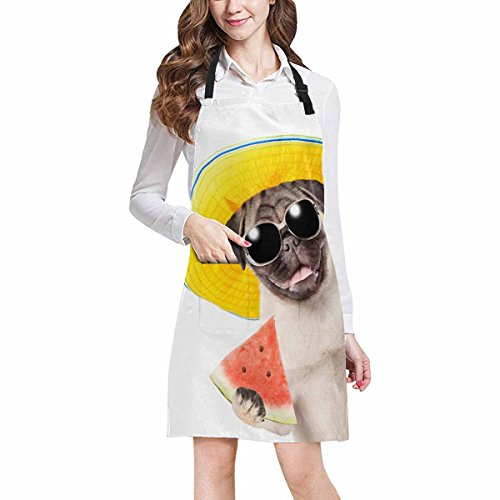 InterestPrint Funny Summer Puppy Dog with Sunglasses Holding Watermelon Chef Kitchen Apron, Adjustable Strap & Waist Ties, Front Pockets, Perfect for Cooking, Baking, Barbequing, Large Size by InterestPrint