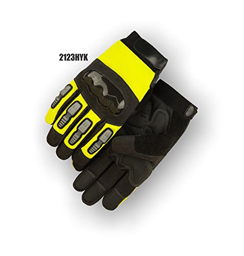 (12 Pair) Majestic ARMORSKIN PALM GLOVES WITH THERMOPLASTIC POLYURETHANE KNUCKLE GUARD & KEVLAR - 3X LARGE, YELLOW(2123HYK/13)