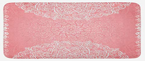Lunarable Pale Pink Kitchen Mat, Doily Inspired Lace Style Round Motifs with Ornate Intricate Hearts, Plush Decorative Kithcen Mat with Non Slip Backing, 47