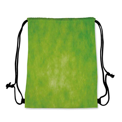 Lime Green Practical Drawstring Bag,Cloudy Shade of Color Pastel Toned Hazy Backdrop Irish Tones Artistic Digital for Women,17.7''L x 36''W