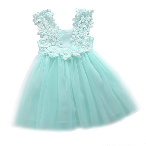 Elegant Feast Baby Girls Princess Lace Flower Tulle Tutu Gown Formal Party Dress (5-6 Years, -