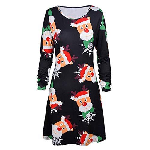 Swing Yamaha (Shusuen ☸ Women's Christmas Print Long Sleeve Dress Ladies O Neck Evening Prom Xmas Costumes Swing Skirt)
