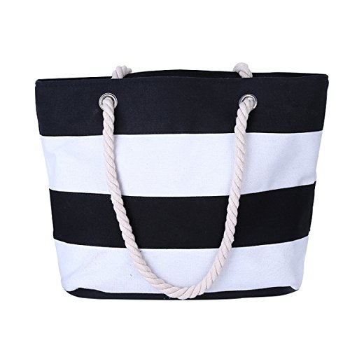 Cotton Canvas Tote Beach Bag With Zipper Top Handle Handbag Shoulder Bags Shopping Bag from Nevenka (Style 1, Black White) -