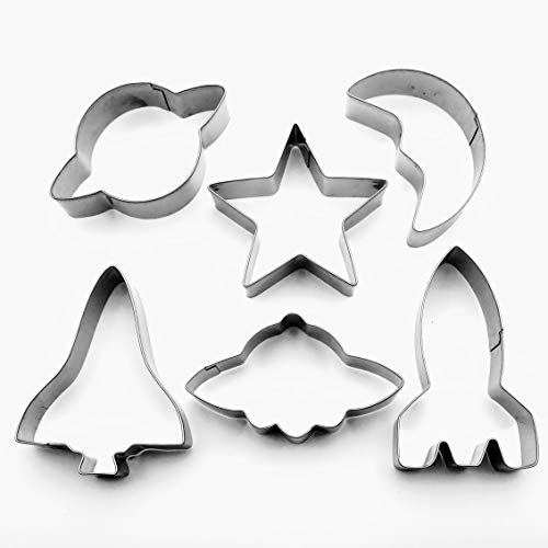LAWMAN Space Cookie Cutter Spaceship Shuttle Rocket Saturn Moon Star Fondant Pastry Baking Metal set (Moon And Cookie Stars Cutters)