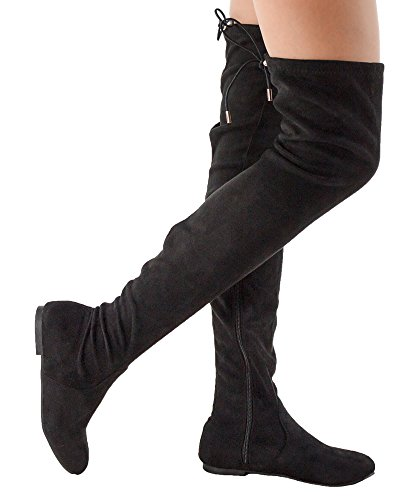 Long Boots (RF Women Fashion Comfy Vegan Suede Side Zipper Over the Knee Boots - NA21 BLACK (9))