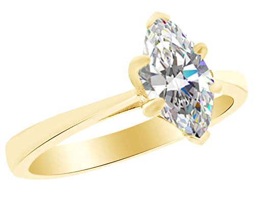 AFFY Marquise Cut White Cubic Zirconia Solitaire Wedding Ring in 925 Sterling Silver (0.85 cttw) Ring Size-7.5 ()