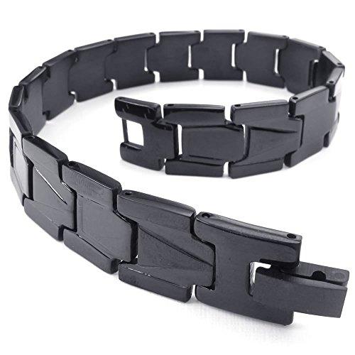 KONOV Mens Stainless Steel Bracelet, Classic Link Wrist, Black