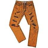 S-JACOL Men's Skinny Distressed Destroyed Biker Moto Fashion Color Jeans Pant (Amber Orange, 30W x 30L)
