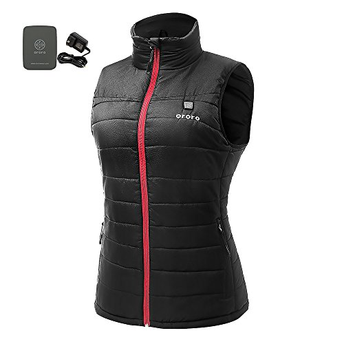 ORORO Women's Lightweight Insulated Heated Down Vest with Battery Pack(Large)