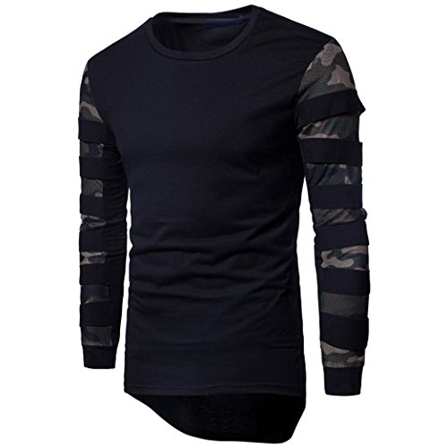Honhui Men's Long Sleeve Slim Fit Printed T-Shirt Round Neck Outwear Blouse Top (Black, M) by Honhui