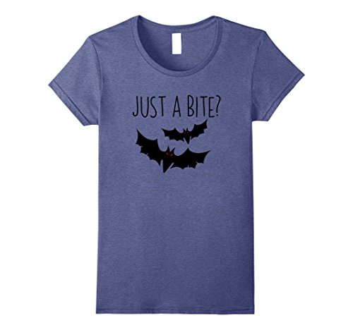 [Womens Just A Bite? Funny Halloween Vampire Bat Costume Shirt Small Heather Blue] (Just One Bite Female Costumes)