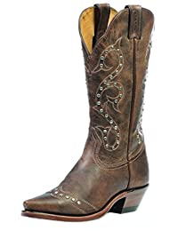 Boulet Western Boots Womens Cowboy Leather Selvaggio Wood 1682