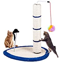 Gluckluz Cat Scratching Post Scratch Tree Scratcher with Toy for Large Small Cats Kittens with Toy Sisal Furniture Protector (Blue)