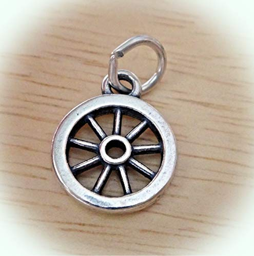 Sterling Silver 3D Small 11mm Old West Western Wagon Wheel Charm Vintage Crafting Pendant Jewelry Making Supplies - DIY for Necklace Bracelet Accessories by CharmingSS -