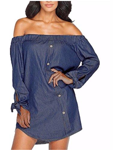 Ladies Dark Blue Denim - ZANZEAZANZEA Women's Off Shoulder Denim Tie Cuff Long Sleeve Split Irregular stylish Mini Dress Dark Blue US 14