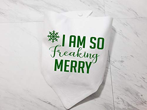 Cute Washable Solid Color Whoa Dog E I Am So Freaking Merry Dog Cat Pet Bandana Triangle Bibs Holiday Scarf For Extra Small Small Medium Large Animals