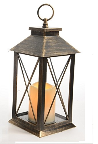 Lumineo Battery Operated LED Flame Candle Lantern & Timer - Rustic Black Copper Kaemingk