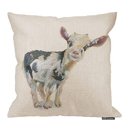 (HGOD DESIGNS Babys Smiley Cow Watercolor Throw Pillow Pillowcase 18 X 18 Inches Cotton Linen Farm Cute Animal Pillow)