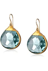 Devon Leigh 24k Gold Foil Blue Quartz Earrings