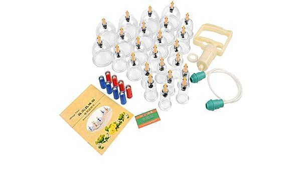 NMQQ Juegos De Ventosas Al Vacío - 24 Latas Juegos De Ventosas Al Vacío Masaje Chino Terapia con Ventosas Terapia Acupuntura Espalda Cuerpo Masajeador Anticelulítico Alivio del Dolor - para El Hogar: