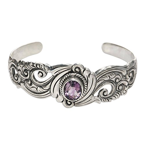 Artisan Crafted Sterling Filigree - NOVICA Amethyst .925 Sterling Silver Floral Paisley Cuff Bracelet 'Regal Ivy'
