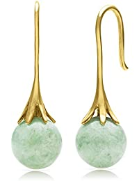 14k Yellow Gold Natural Green Jade Fishhook Drop Dangle Earrings