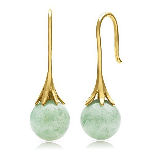 14k Yellow Gold Natural Green Jade Fishhhook Drop Dangle Earrings by Pearlzzz