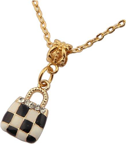 Pendant, Purse Black and White Enamel Rhinestone Gold Colored Pendant + FREE CHAIN + FREE GIFT BAG