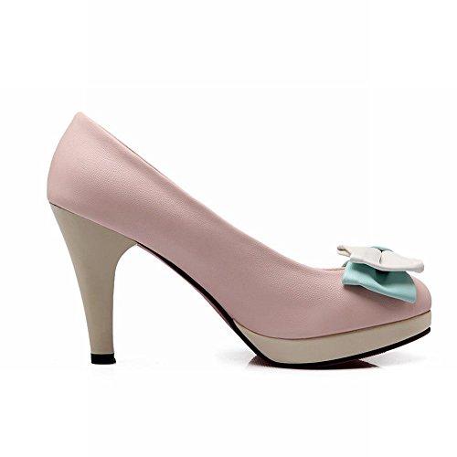 MissSaSa Damen süß high-heels Pumps mit Schleife multicolor Party stiletto Schuhe Pink