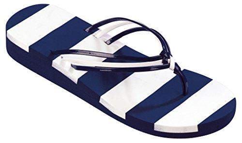 Beco Unisex V de Strap Slipper azul marino/blanco