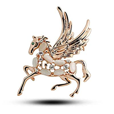 Gold Fashion Carve Pins Women Hollow Horse with Wings Brooche Crystal Lively
