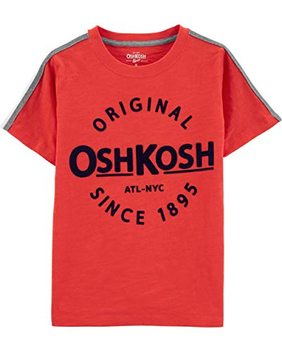 Osh Kosh Boys' Little Logo Tees, Reddington/Grey/Ivory, 6 - Oshkosh B Gosh Children's Clothing