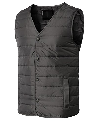 H2H Men Packable Ultralight Down Vest Outdoor Puffer Vest Gray US XS/Asia M (KMOV0163) (Golf Storing Gear)
