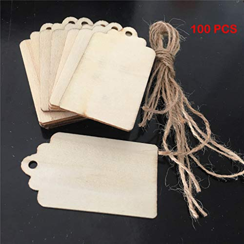 WFFO Wood Tags Unfinished Wood Craft Supplies DIY Woodcrafts Blank Wooden Gift Tags Natural Hanging Wood Pieces Decor Wedding (100 Pcs) (A) ()