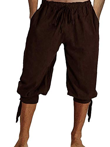 (Tenkilo Mens Renaissance Pirate Costume Medieval Pants Viking Cosplay Knicker Knee Length Cotton Linen Shorts Brown)