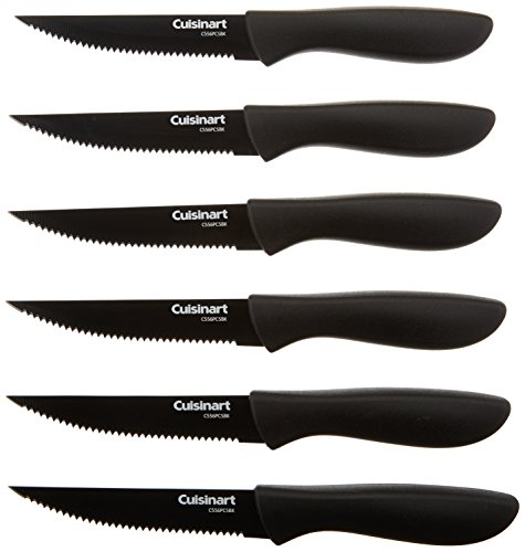 Cuisinart C55-6PCSBK Advantage Color Collection 6-Piece Ceramic Coated Steak Knife Set, Black - Set Ceramic Knife Black