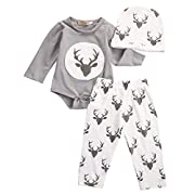 HOT SALE!!3Pcs Outfits Clothes Set,Newborn Infant Baby Boy Girl Deer Romper Tops + Pants + Hat (Gray, 3M)