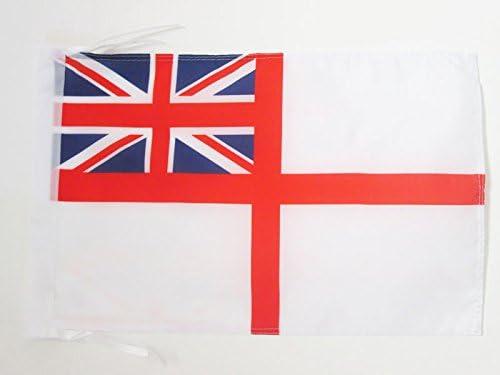 AZ FLAG Bandiera INSEGNA Bianca Britannica 45x30cm Regno Unito 30 x 45 cm cordicelle BANDIERINA Royal Navy White Ensign