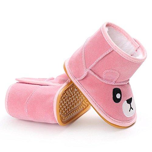 Omiky® Baby Mädchen Cartoon weiche Sohle Schnee Stiefel warme Krippe Schuhe Anti-Rutsch-Kleinkind Stiefel Rosa