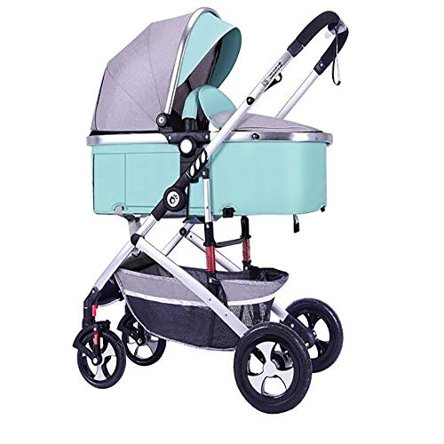SSRS Newborn Toddler Pram High Landscape 2 in 1 from Birth Pushchairs Baby Strollers Fold Two Way Five-Point Seat Belt (Mint Green)
