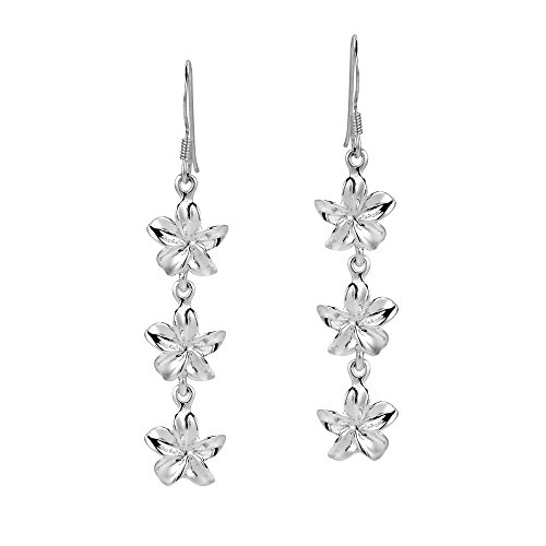 (Triple Hawaiian Plumeria .925 Sterling Silver Drop Fish Hook Earrings)