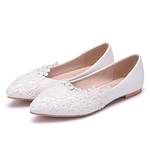 Sogala White Wedding Shoes for Bride Lace Appliques Comfort Bride Shoes Wedding Bridal Dresses Flat Heels from Sogala